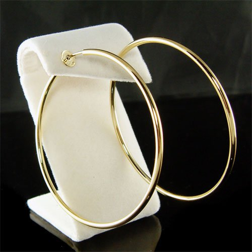 """2 1/2""""(60mm) Large 14K Gold-Plated Round Hoop Clip On Earrings"""