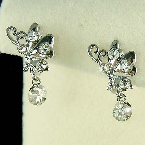 Clear Bridal Wedding Swarovski Crystal Butterfly Huggie Earrings