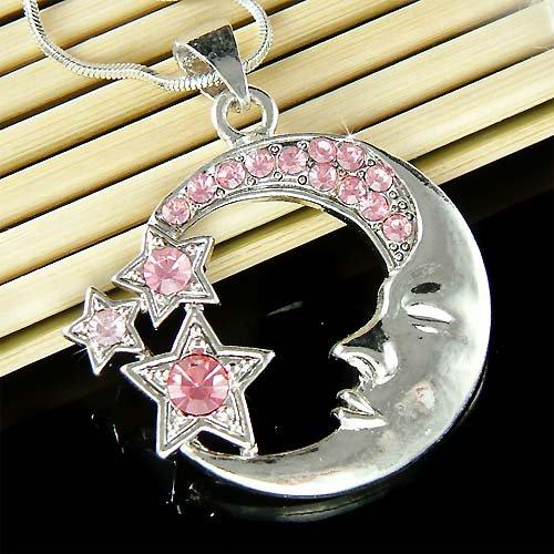 Celestial Crescent Moon Stars Swarovski Crystal Pendant Necklace