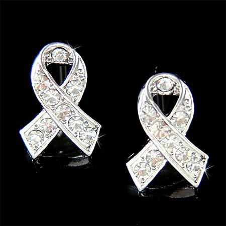 Clear Swarovski Crystal Lung Cancer Awareness Ribbon Earrings