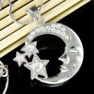 Swarovski Crystal Celestial Crescent Moon Stars Pendant Necklace