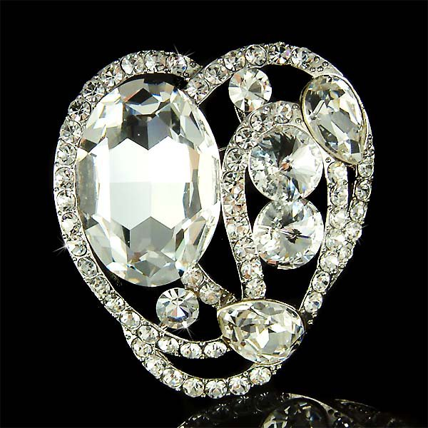 Open Love Heart  Big Clear Swarovski Crystal Bridal Dress Brooch