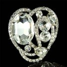 Open Love Heart  Big Clear Swarovski Crystal Bridal Dress Brooch