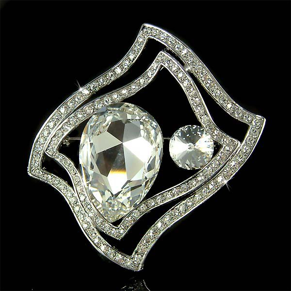 Wavy Rectangle Huge Swarovski Crystal Stone Bridal Party Brooch