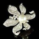 Bridal Swarovski Crystal Pearl Lily Flower Floral Wedding Brooch