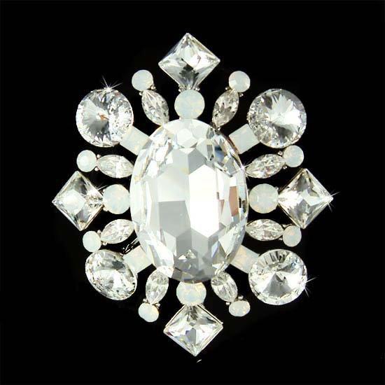 Oval Shaped Swarovski Crystal White Opal Starburst Bridal Brooch