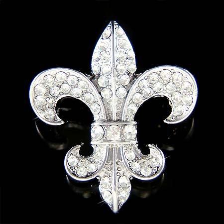 Swarovski Crystal Fleur De Lys Lis Lily Flower Symbol Pin Brooch