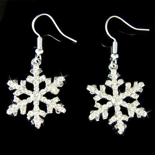 Swarovski Crystal Clear Snowflake Christmas White Snow Earrings