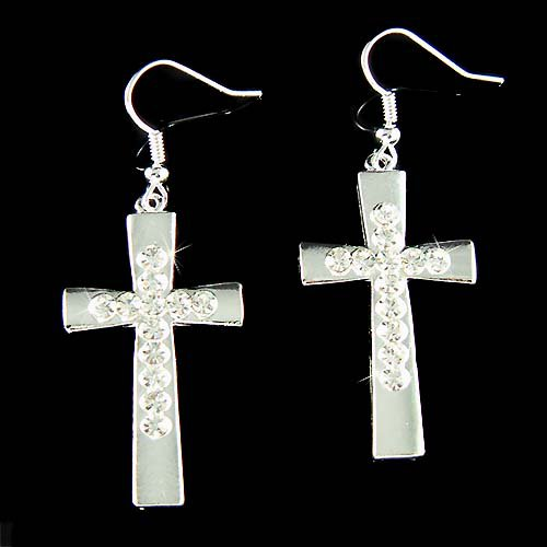 Big Swarovski Crystal Cross Jesus God Religious Love Earrings