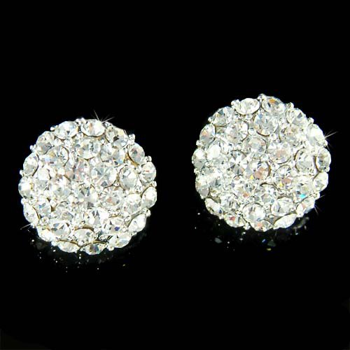 "5/8"" 16mm Swarovski Crystal Half Ball Sphere Pave Stud Earrings"