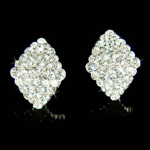 Cute Swarovski Crystal Curved Diamond Shape Bridal Stud Earrings