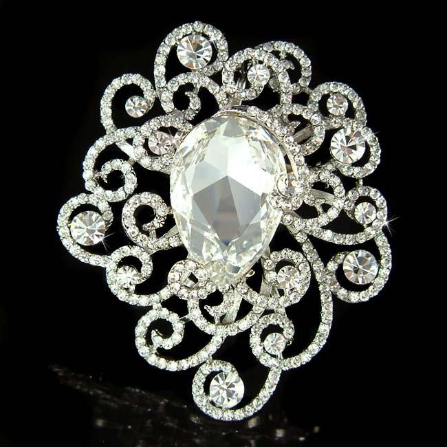 Bridal Cutout Filigree Flower Pave Huge Swarovski Crystal Brooch