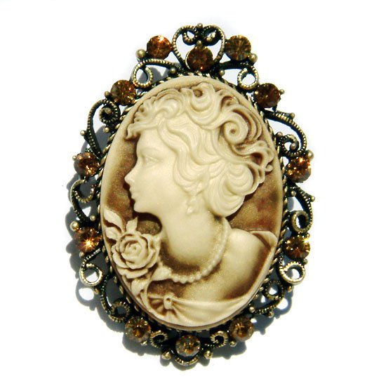 2 in 1 Antique Gold Topaz Cameo Swarovski Crystal Pendant Brooch