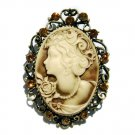 2 in 1 Antique Gold Topaz Cameo Swarovski Crystal Pendant Brooch