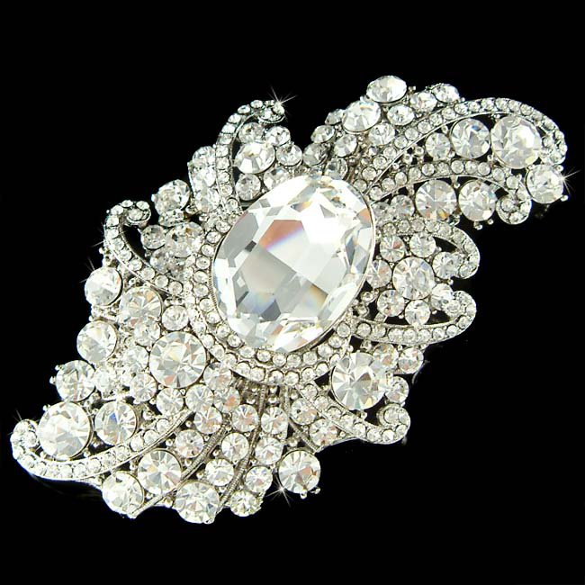 "3"" Huge Big Swarovski Crystal Bridal Brooch for Wedding Dress"