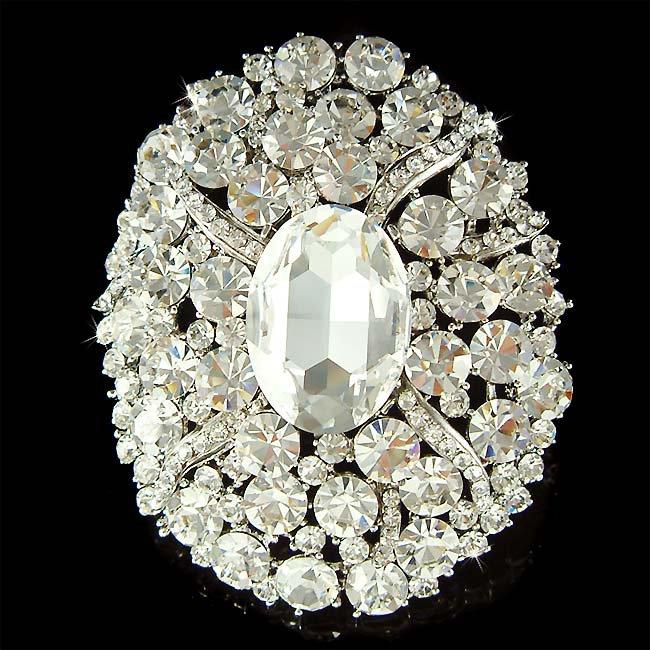 Bridal Swarovski Crystal Oval Sash Bouquet Wedding Dress Brooch