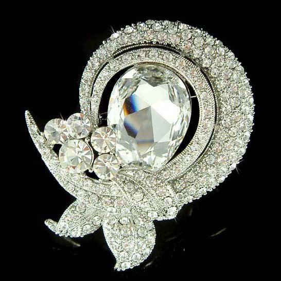 Swarovski Crystal Floral Ribbon Bridal Bouquet Gown Dress Brooch