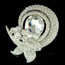 Swarovski Crystal Floral Ribbon Bridal Bouquet Gown Dress Brooch