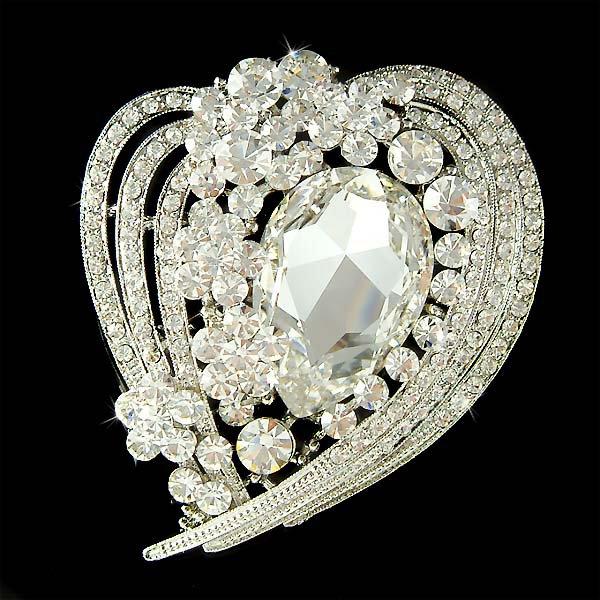 Swarovski Crystal Love Heart Flower Bridal Gown Dress Brooch