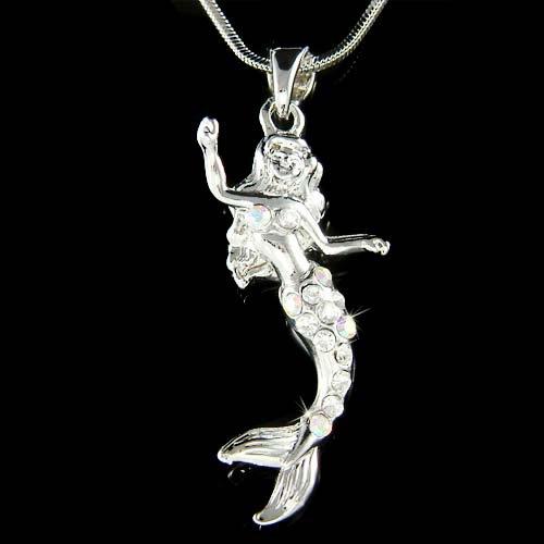 Swarovski Crystal Mermaid Sea Nymph Princess Pendant Necklace