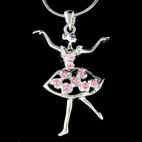Pink Swarovski Crystal Ballerina Heart Ballet Pendant Necklace