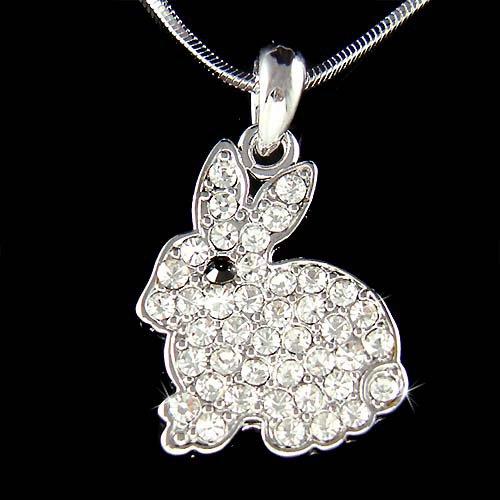 New White Swarovski Crystal Easter Bunny Rabbit Pendant Necklace