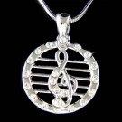 Swarovski Crystal Musical Staff Treble G Clef Pendant Necklace