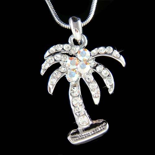 Hawaii Vacation Swarovski Crystal Palm Tree Coconut Necklace