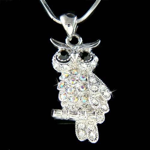 Swarovski Crystal AB Black Owl on the branch Pendant Necklace