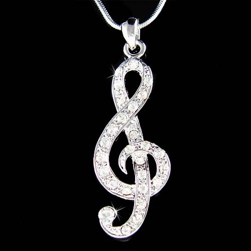 New Swarovski Crystal Treble G Clef Music Note Pendant Necklace