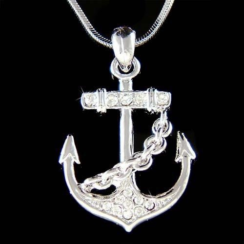 Beach Wedding Swarovski Crystal Yacht Anchor Nautical Necklace