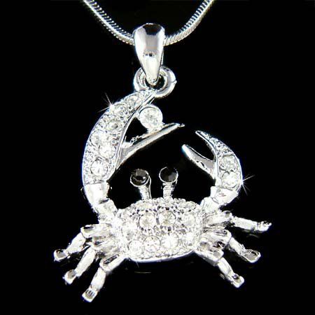Swarovski Crystal Ocean Sea Beach Wedding Crab Pendant Necklace