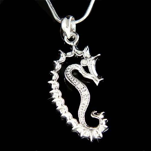 Beach Wedding Swarovski Crystal Seahorse Sea Horse Necklace
