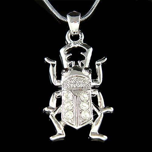 Swarovski Crystal Egyptian Scarab Stag Beetle Bug Charm Necklace