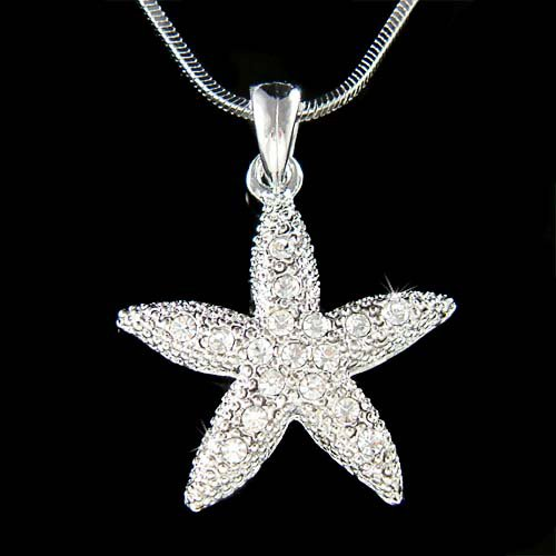 Beach Ocean Wedding Swarovski Crystal Starfish Pendant Necklace