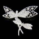 Swarovski Crystal Mother Baby 2 Filigree Dragonfly Pin Brooch