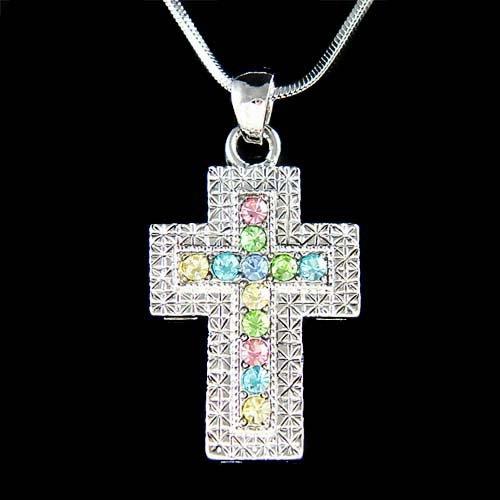 Pastel Swarovski Crystal Cross Jesus God Religious Holy Necklace