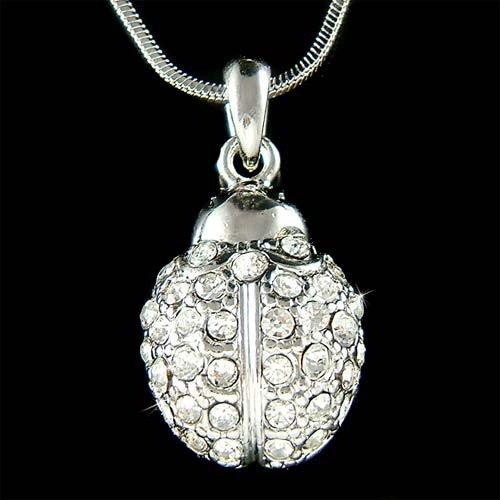 Clear Swarovski Crystal Ladybug Insect Bug Pendant Necklace