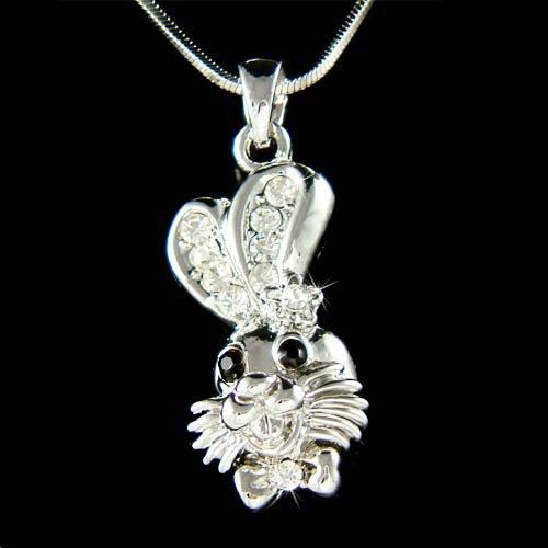 Swarovski Crystal Alice in Wonderland Rabbit Bunny Hase Necklace