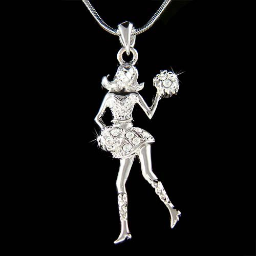 Bling Sport Team Swarovski Crystal Cheerleader Pendant Necklace