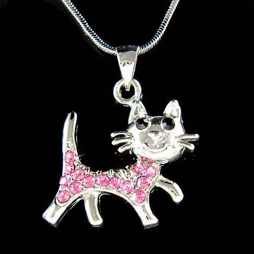 Swarovski Crystal Pink Cat Kitten Pet Animal Pendant Necklace