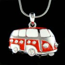 Swarovski Crystal Red Volkswagen VW Bus Van Vanagon Necklace
