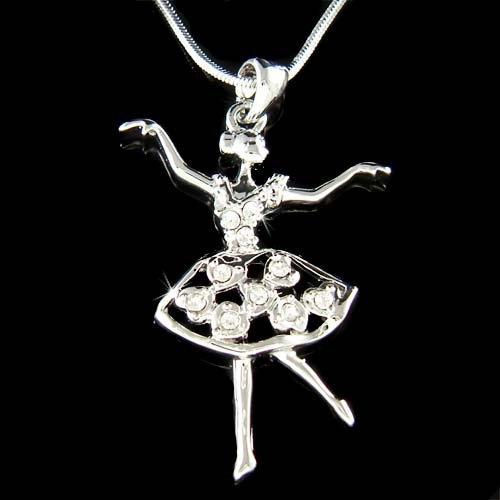 Swarovski Crystal Ballerina Heart Ballet Dancer Pendant Necklace