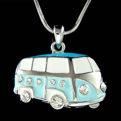 Enamel Swarovski Crystal Volkswagen VW Bus Van Vanagon Necklace