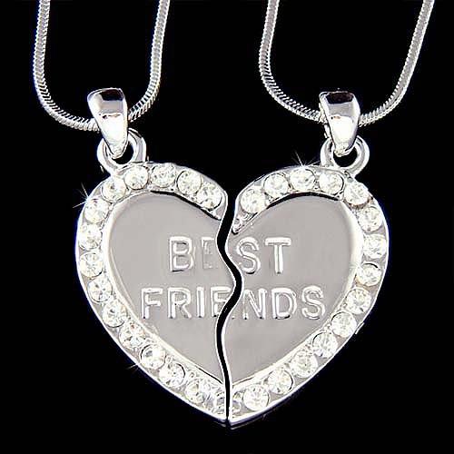 Swarovski Crystal Engraved Best Friend Heart 2 Chains Necklace