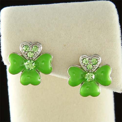 Swarovski Crystal St Patrick Lucky Enamel 4 Leaf Clover Earrings