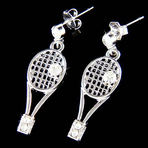 Swarovski Crystal Tennis Ball Racket Racquet Pierced Earrings
