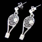 Swarovski Crystal Tennis Ball Racket Racquet Pierced Earrings