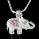 Swarovski Pink Crystal Holy Lucky 3D Elephant Pendant Necklace