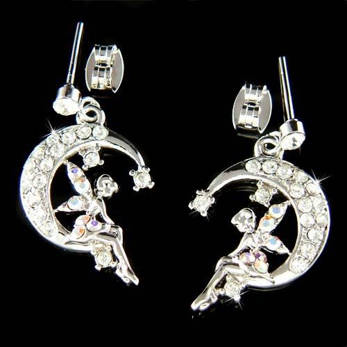 Swarovski Crystal Tinker Pixie Faiy Tinkerbell in Moon Earrings